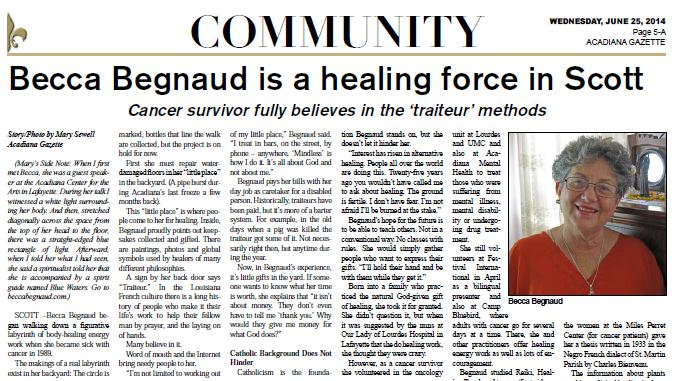 An Article from Acadiana Gazette about Becca's Healing Work